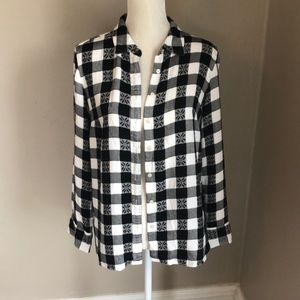 Talbots Black and White Plaid Button Up Blouse